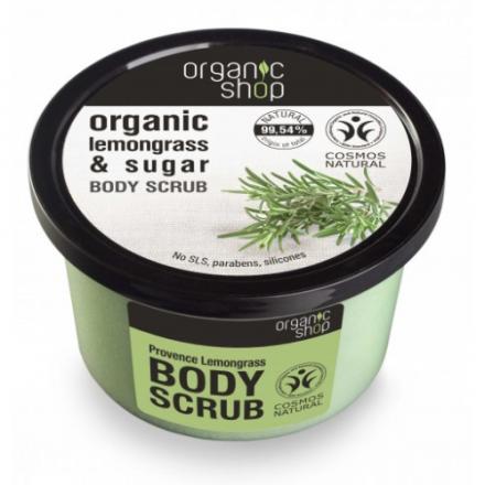 Organic shop - Odświeżający scrub do ciała na bazie organicznego ekstraktu trawy cytrynowej i cukru trzcinowego - 250ml!❤
