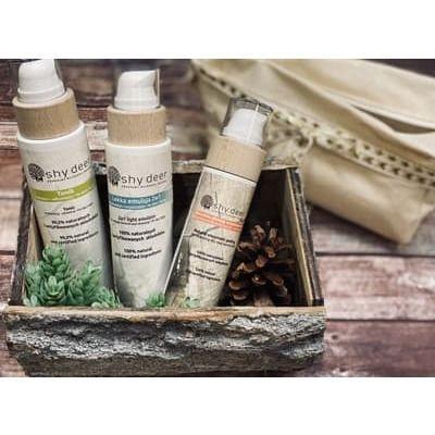 Shy Deer - Set van natuurlijke cosmetica voor gezichtsverzorging: Make-up remover emulsie + tonic + enzymatische peeling +schoonheidsspecialiste!