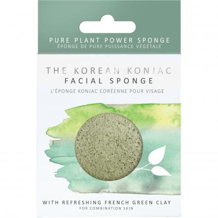 The Konjac Sponge Company - Gąbka do mycia twarzy z Francuską Zieloną Glinką! 8cm