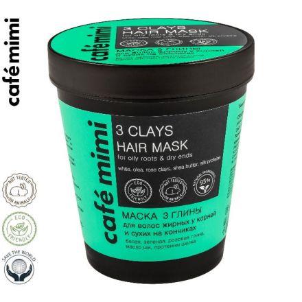 """LE CAFE MIMI - Maska """"3 Glinki"""" do włosów tłustych u nasady i suchych na końcach! 220ml"""