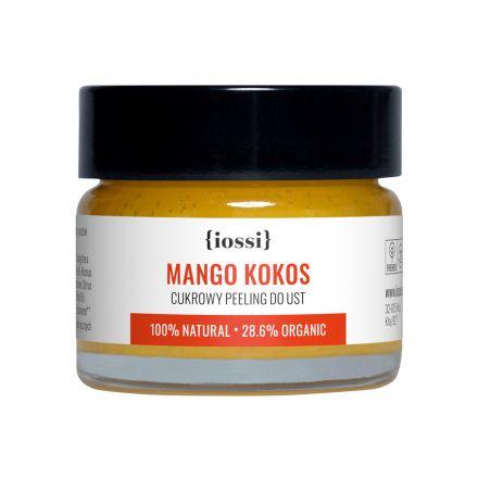"""IOSSI - """"Mango&Kokos"""". Delikatny cukrowy peeling do ust z woskiem pszczelim! 15ml"""