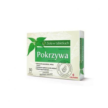 COLFARM - Pokrzywa, suplement, na wzmocnienie paznokci, włosów, odporności! 30 tabletek