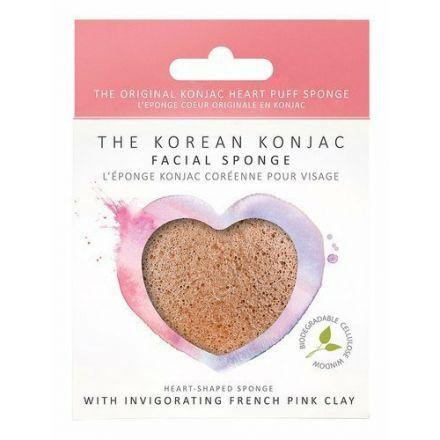 The Konjac Sponge - Premium Serduszko z różową glinką do cery wrażliwej, zmęczonej!
