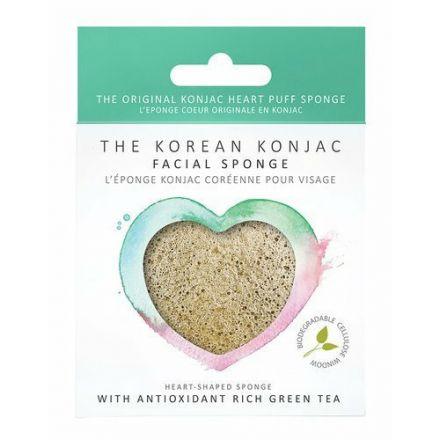 The Konjac Sponge - Premium Serduszko z zieloną herbatą o działaniu wzmacniającym i antyoksydacyjnym do każdej cery!