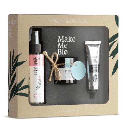 """Make Me BIO - Zestaw kosmetyków, lekki krem do twarzy skóry tłustej i mieszanej """"AQUA LIGHT"""" + Woda różana + krem do rąk limitowana edycja!"""