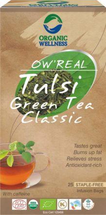 """ORGANIC WELLNESS -  """"Tulsi Green Tea Classic"""" jest to specjalna mieszanka Tulsi i zielonej herbaty! 25 saszetek"""