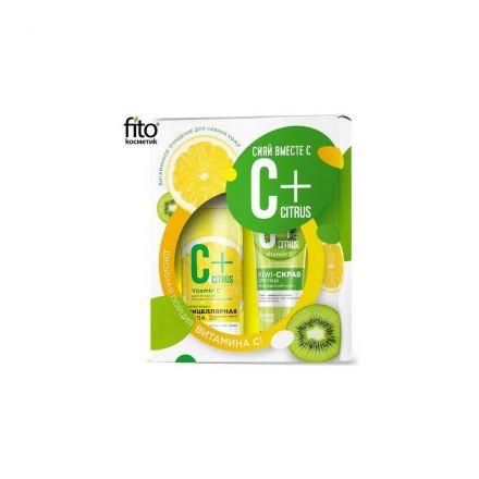 """Fitokosmetik - Set van twee gezicht cosmetica C + """"Stralende huid"""" Micellar vloeistof + Scrub voor het gezicht! 245ml"""